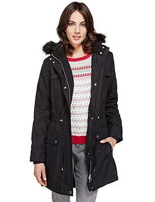 Faux Fur Trim Hooded Coat with Stormwear™, BLACK, catlanding