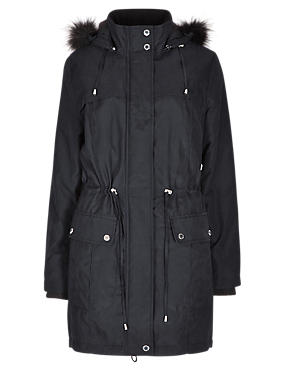 Faux Fur Trim Hooded Coat with Stormwear™