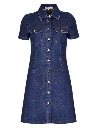 No Peep™ Denim Button Through Shirt Dress £45 by Limited Edition from Marks and Spencer