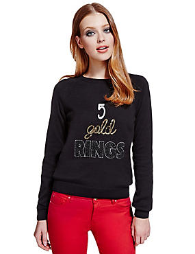 Black Mix 5 Gold Rings Christmas Jumper