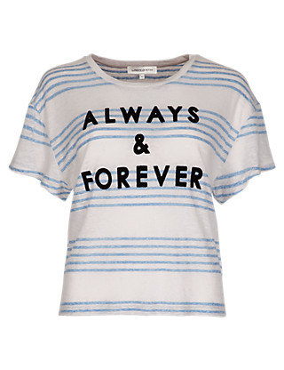 Linen Rich 'Always & Forever' Slogan Striped T-Shirt Clothing