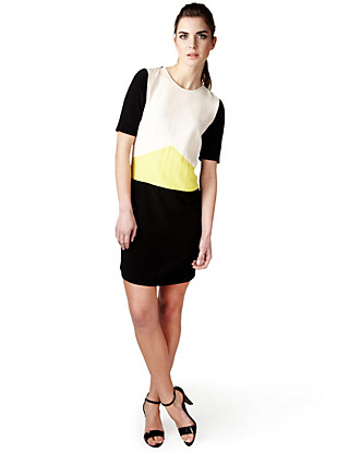 Colour Block Shift Dress Clothing