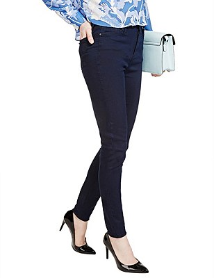 High Waisted Skinny Denim Jeans, INDIGO, catlanding