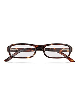 Rectangular Frame Reading Glasses, AMBER, catlanding