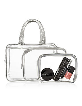 Outstanding Value 3 Piece Clear Cosmetic Bag Set, SILVER, catlanding