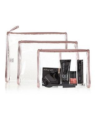 3 Piece Clear Cosmetic Bag Set, , catlanding