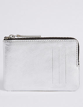 Leather Coin Purse, SILVER, catlanding