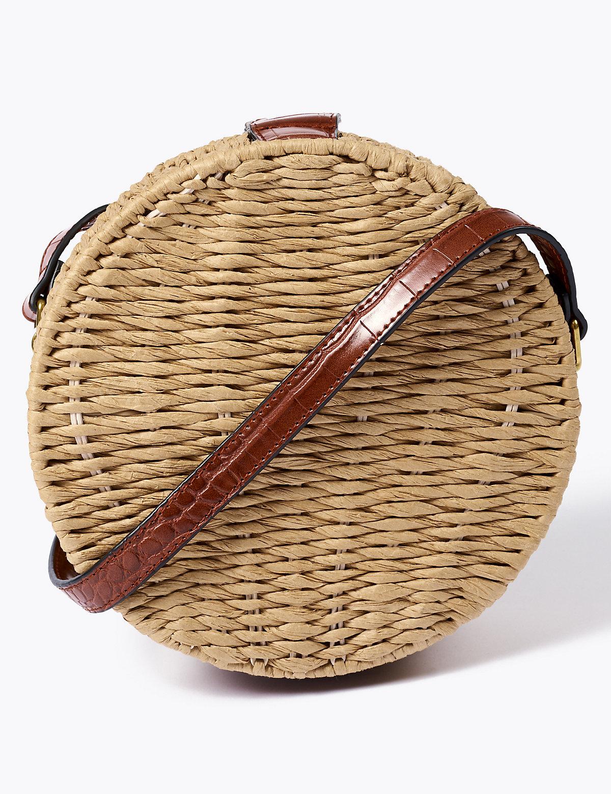 Соломенная круглая сумка через плечо