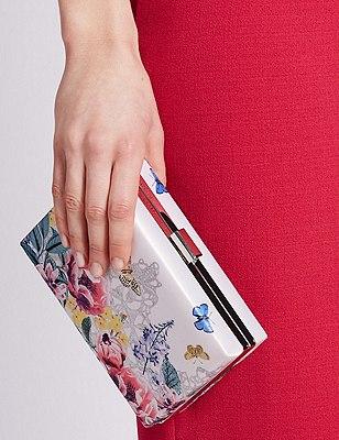 Bolso clutch cuadrado de diseño floral, , catlanding