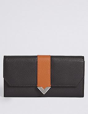 Leather Contrast Purse, , catlanding