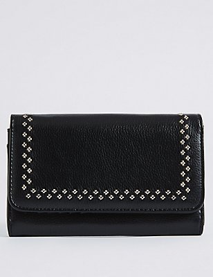 Faux Leather Twin Needle Purse, BLACK MIX, catlanding