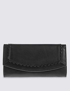 Leather Sunray Purse with Cardsafe™, BLACK, catlanding
