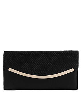 Faux Leather Curve Bar Purse with Cardsafe™