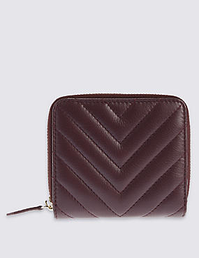 Leather Quilted Zip Around Purse with Cardsafe™, CLARET, catlanding