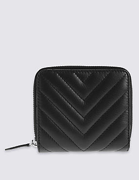 Leather Quilted Zip Around Purse with Cardsafe™, BLACK, catlanding