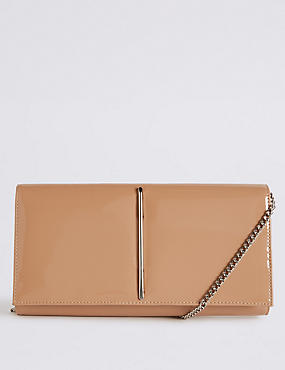 Metal Bar Clutch Bag, NUDE, catlanding