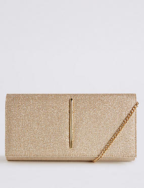 Metal Bar Clutch Bag, GOLD MIX, catlanding