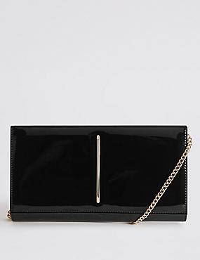 Metal Bar Clutch Bag, BLACK, catlanding