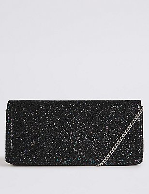 Faux Leather Elongated Clutch Bag, ANTHRACITE, catlanding