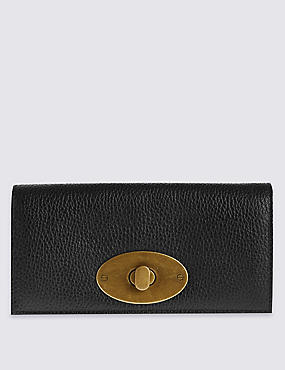 Leather Round Lock Purse with Cardsafe™, BLACK, catlanding
