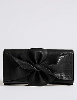 Faux Leather Bow Detail Purse, BLACK, catlanding