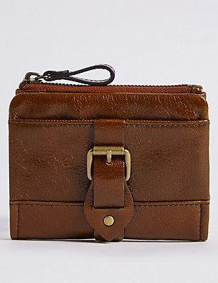 Leather Buckle Purse with Cardsafe™, TAN, catlanding