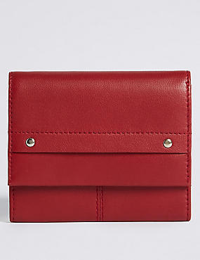 Leather Grainy Purse with Cardsafe™, RED, catlanding