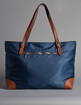 Leather Trim Double Handle Large Tote Bag, NAVY MIX, catlanding