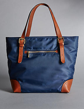 Double Handle Small Tote Bag, NAVY MIX, catlanding