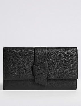 Leather Knot Detail Purse with Cardsafe™, BLACK, catlanding