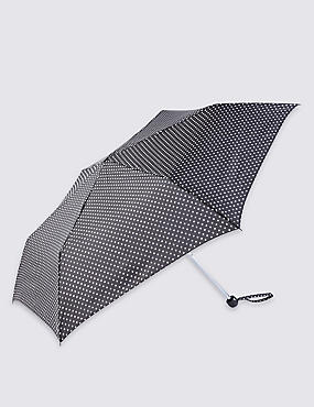 Mini Polka Dot Compact Umbrella with Stormwear™, BLACK MIX, catlanding