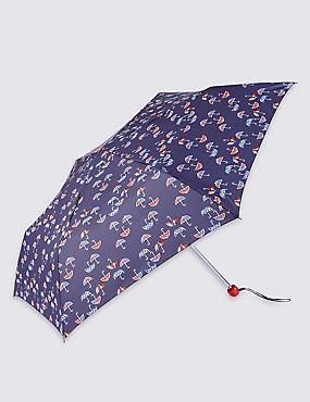 Mini Umbrella Print Compact Umbrella with Stormwear™, NAVY MIX, catlanding