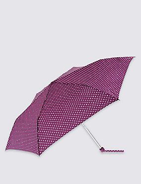Polka Heart Umbrella with Stormwear™, PLUM, catlanding