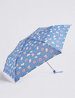 Percy & Pals Compact Umbrella with  Stormwear™, BLUE MIX, catlanding