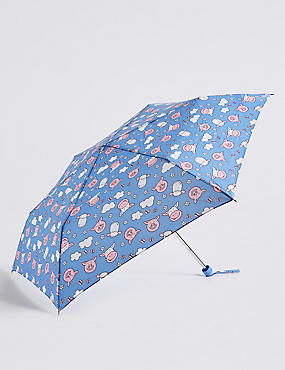 Percy and Pals Compact Umbrella with  Stormwear™, BLUE MIX, catlanding