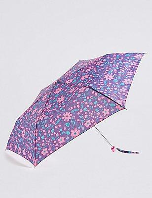 Folk Flowered Compact Umbrella with Stormwear™, PURPLE MIX, catlanding