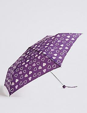 Heart Print Umbrella with Stormwear™, PURPLE MIX, catlanding