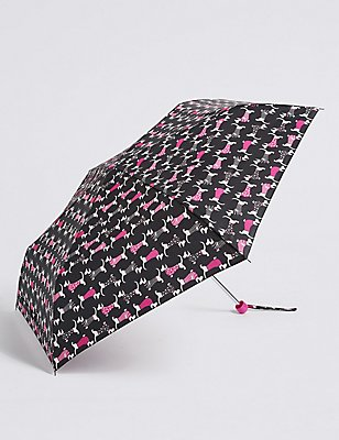 Animal Print Compact Umbrella with Stormwear™, BLACK MIX, catlanding
