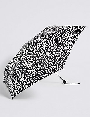 Heart Print Umbrella with Stormwear™ , BLACK MIX, catlanding