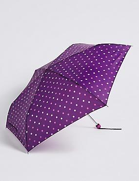 Polka Dot Compact Umbrella with Stormwear™, BURGUNDY MIX, catlanding