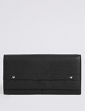 Leather Grainy Purse with Cardsafe™, BLACK, catlanding