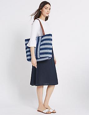 Striped Shopper Bag, BLUE MIX, catlanding