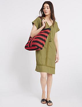 Striped Shopper Bag, BLACK MIX, catlanding