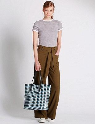 Faux Leather Geometric Print Shopper Bag, BLUE MIX, catlanding