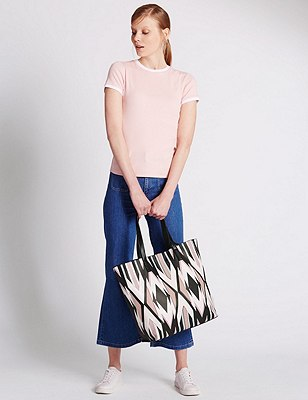 Faux Leather Geometric Print Shopper Bag, BLACK MIX, catlanding