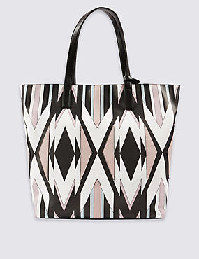 Faux Leather Geometric Print Shopper Bag