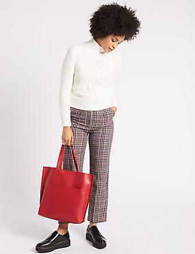 Leather Pocket Shopper Bag , RED, catlanding