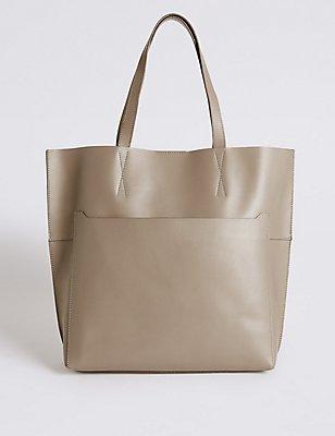 Leather Pocket Shopper Bag , GREY, catlanding