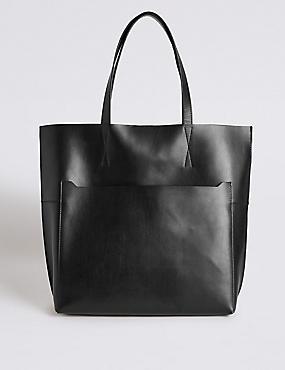 Leather Pocket Shopper Bag , BLACK, catlanding