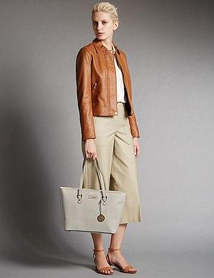 Faux Leather Shopper Bag, WHITE, catlanding